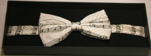 Music Manuscript or Keyboard Fancy Silk Bow Tie Musician Conductor Teacher Gift
