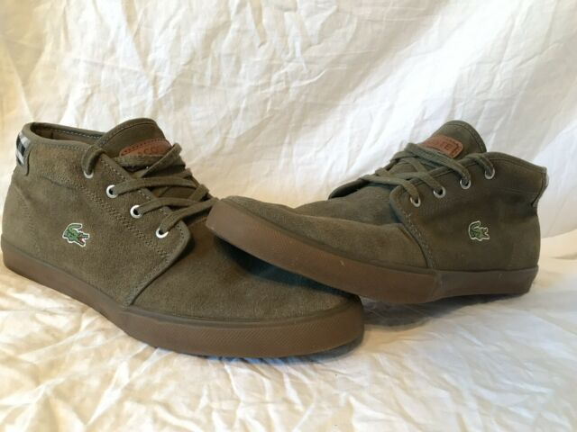LACOSTE AMPTHILL CANVAS GREEN CHUKKA CASUAL SNEAKERS MEN'S 10.5