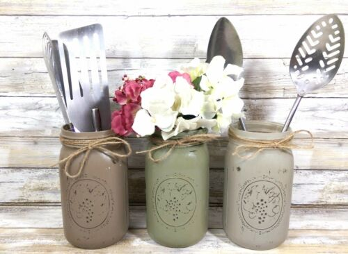 3 French Country Colored Rustic Mason Jar Utensil Holders Rustic Home Farm Decor