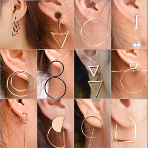 1 Pairs Women Punk Simple Geometric Circle Ear Stud Earrings Fashion Hot Jewelry