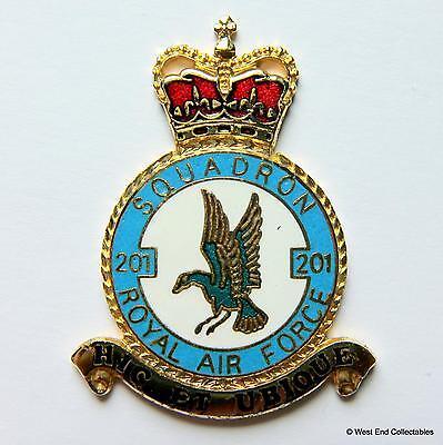 RAF 201 Squadron DANBURY MINT Blank Badge -24ct Gold Plate 1970s Royal Air Force