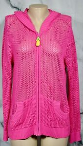 QUACKER-FACTORY-Pink-Open-Weave-Zipfront-Hoodie-Cardigan-Sweater-3X-Sequins