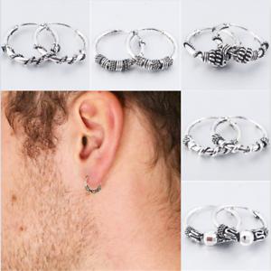 1Pair-Unisex-Silver-Stud-Hoop-Earrings-Men-Women-Retro-Ear-Dangle-Jewelry-Gift