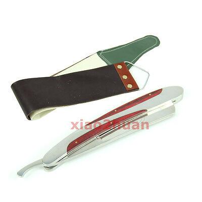 Stainless Steel Straight Barber Edge Razors Folding Shaving Shaver+Strop cloth