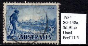 (ref-9917) Australie 1934 Centenaire De Victoria 3d Bleu Sg.148a Utilisé Perf 11.5-afficher Le Titre D'origine Avec Une RéPutation De Longue Date