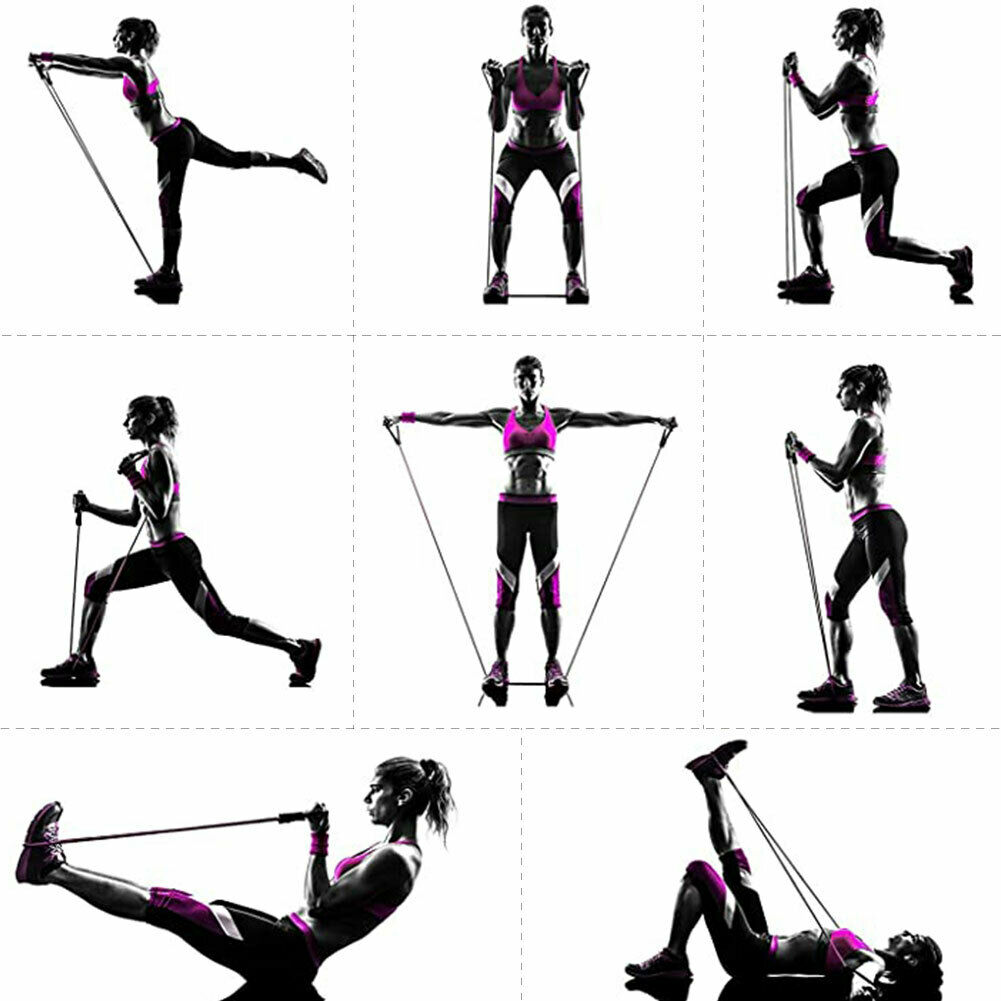11 PCS Resistance Band Set Yoga Pilates Abs Exercise Fitness Tube Workout Bands 8