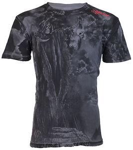 AFFLICTION Mens T-Shirt RAIN Skull Reaper Tattoo Motorcycle Biker UFC Jeans $58