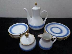 14-tlg-Konvolut-Kaffeeservice-DDR-Design-Weimar-Porzellan-Echt-Kobalt-um-1970