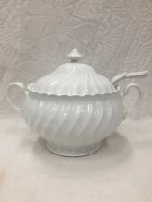 Johnson Brothers England Snowhite Snow White Regency Swirl Soup Tureen And Ladle