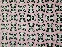 Panda Bear Pandas Pink Flannel Fabric Bthy