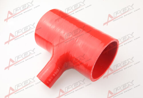 "2.75/"" Silicone TPiece Hose Dump Valve Silicone Rubber Joiner Pipe Tee Red"