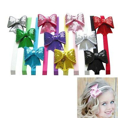 10pcs Stretch Baby Toddler Headbands with Twinkling Sequin Shiny Hair Bows Kids