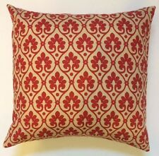 Throw Pillow Sham/Cover for 18x18 Insert Peridot Red/Tan Floral Linen Blend