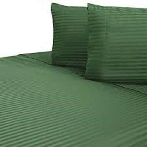 Sheet Set Hunter Green Striped Choose Size/'s 1000 Thread Count 100/% Egyp Cotton