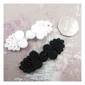 WEDDING-DRESS-FROG-KNOT-BEADED-FASTENERS-BLACK-WHITE-60mm-x-22mm-SEW-ON
