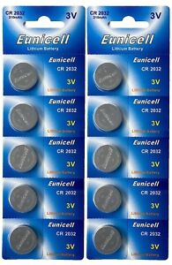 10-x-CR2032-3V-210-mAh-Lithium-Batterie-auf-2-Blistercard-a-5-Stueck-Eunicell