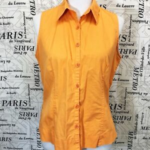 Columbia-Womens-M-Shirt-Orange-Sleeveless-Button-Down-Front-Collared-Spring-A7
