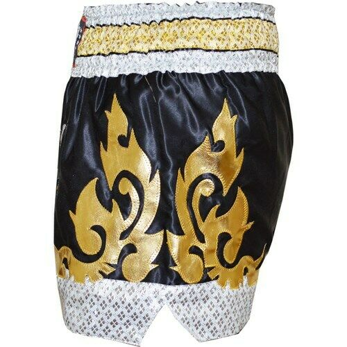 Sizes: XS - XL BLACK /'10YR/' MUAY THAI KICKBOXING SHORTS TRAINING FIGHTING