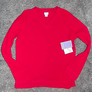 Fleece V-neck Red Womans Small