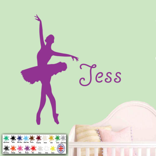 Ballet Dance Dancing Vinyl Decal Personalised Girl Name Ballerina Wall Sticker