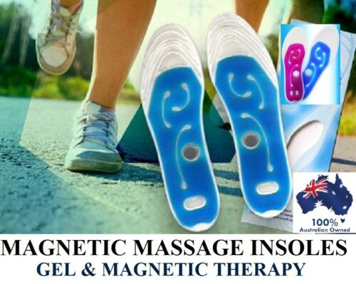 MAGNETIC GEL INSOLE SHOE INSERT LEG CRAMP PAIN RELIEF THERAPY FOOT MASSAGE