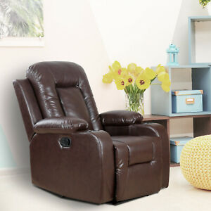 Manual-Recliner-Chair-Padded-Sofa-Recliner-Overstuffed-Living-Room-Brown