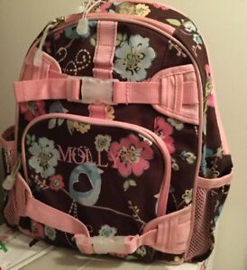Small Pottery Barn Backpack Pink And Brown Floral Pattern