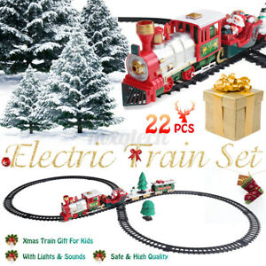 Christmas-Electric-ClassicTrain-Set-Railway-Lights-amp-Sounds-Xmas-Train-Gift-Kids