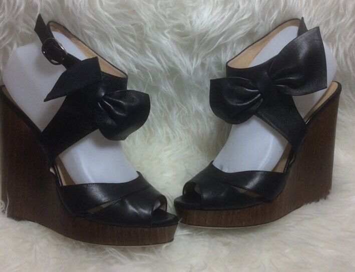 Valentino Garavani Black Leather Platform Bow Ankle Strap Fit 8.5 GUC