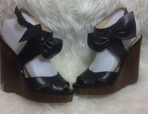 Valentino-Garavani-Black-Leather-Platform-Bow-Ankle-Strap-Fit-8-5-GUC