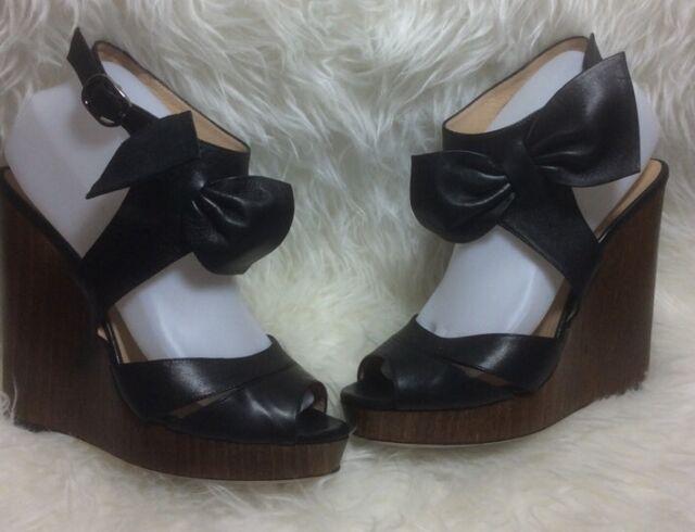 Valentino Garavani Black Leather Platform Bow Ankle Strap Fit 8.5 GUC