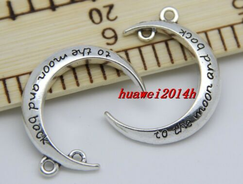 """2//8//48pcs Fashion /""""I LOVE YOU TO THE MOON AND BACK /"""" Moon Fit Charms Pendant DIY"""