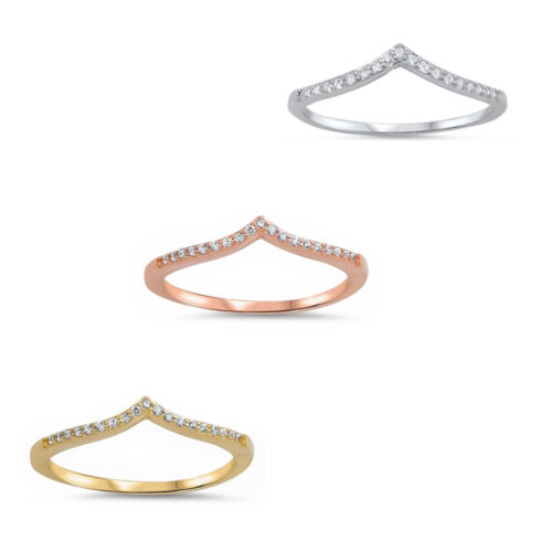 CZ Stackable Yellow,Rose,Silver V Shape Chevron Thumb 925 Sterling Silver Ring