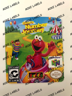 Amiable Elmo's Number Journey N64 Cartridge Replacement Label Sticker Die Cut Video Games & Consoles