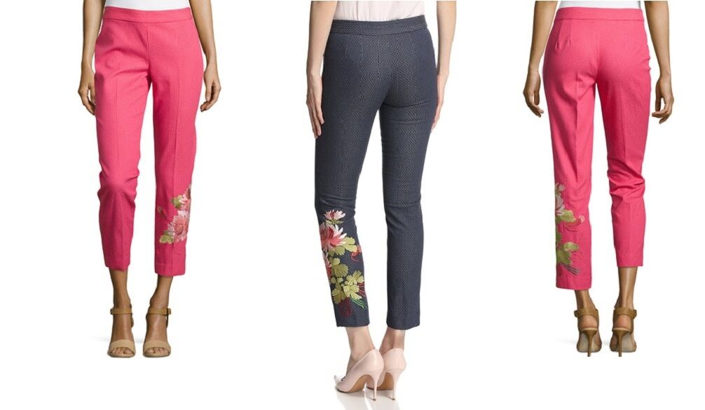 440 Josie Natori Couture Navy Embroidered Crop Ankle Skinny Pants Jeans 8 10 M