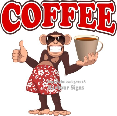 Choose Your Size Coffee DECAL Monkey Concession Food Truck Sticker