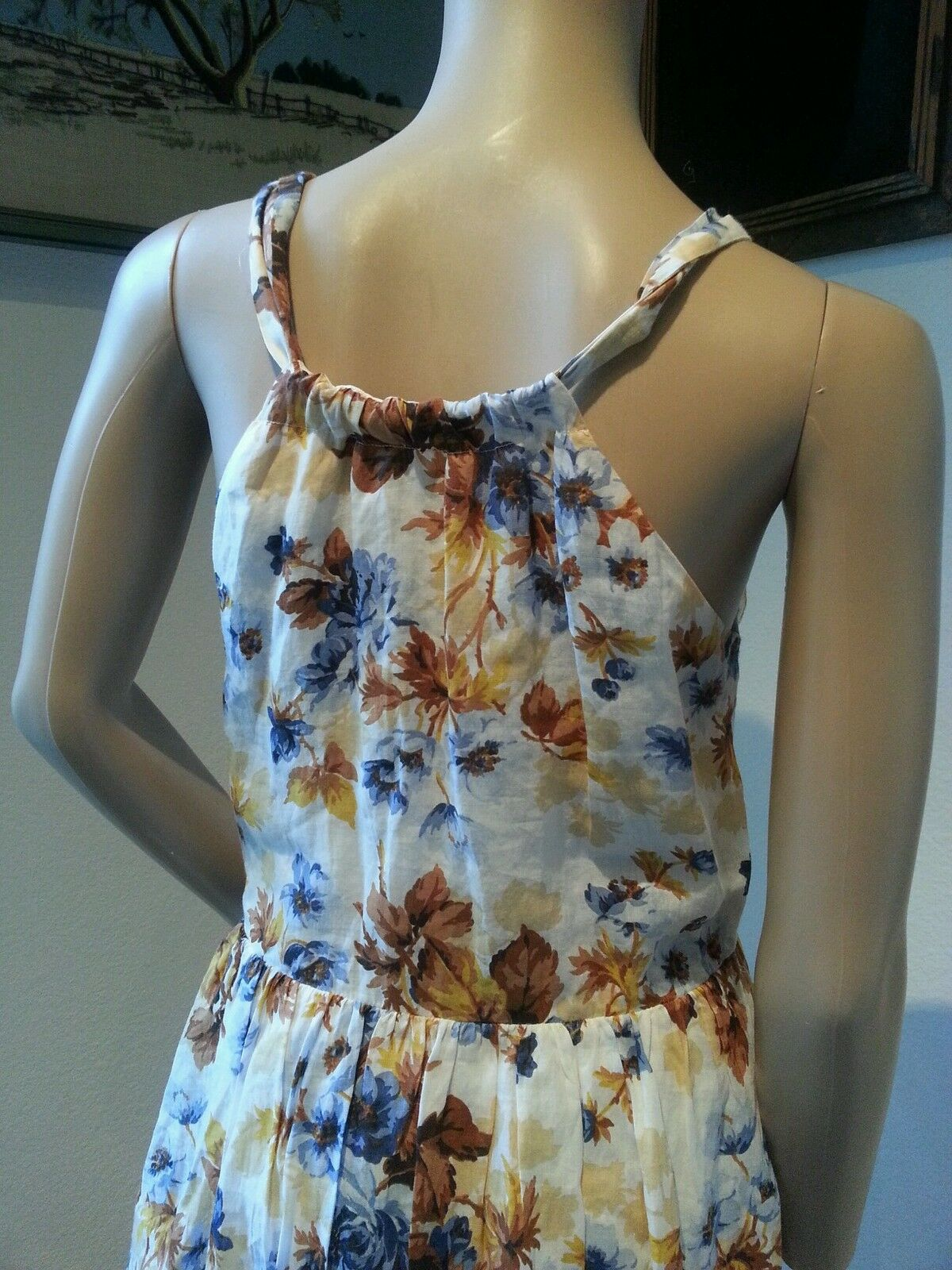 Massimo Massimo Massimo Dutti Floral Gauze Cotton Halter Dress 38 28 6b3355