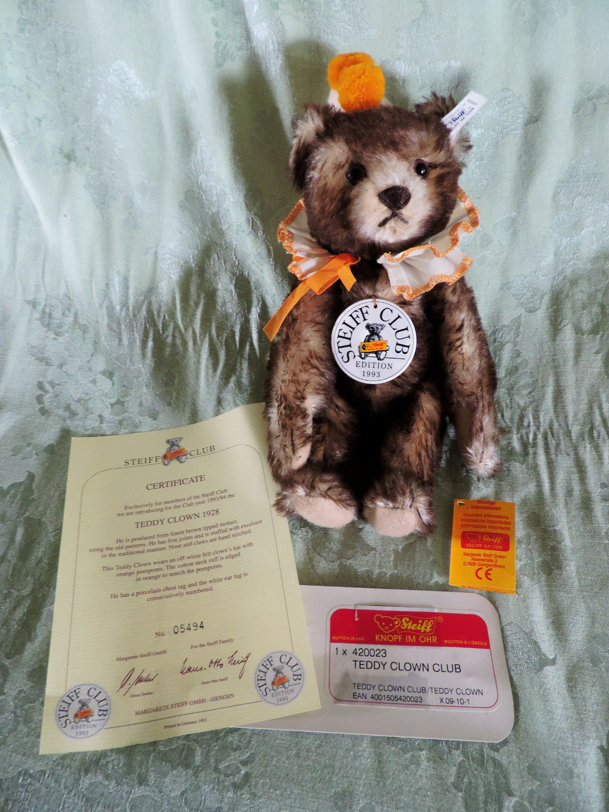 ❤Steiff Teddy Clown 1928 Bear 1993 Club Edition 420023 w Box ID's Papers LT ED❤