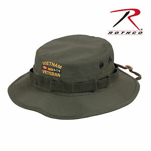 3ea4a17b6 Details about Vietnam Veteran's Boonie OD Deluxe Custom Embroidered  Military Style Hat 5911