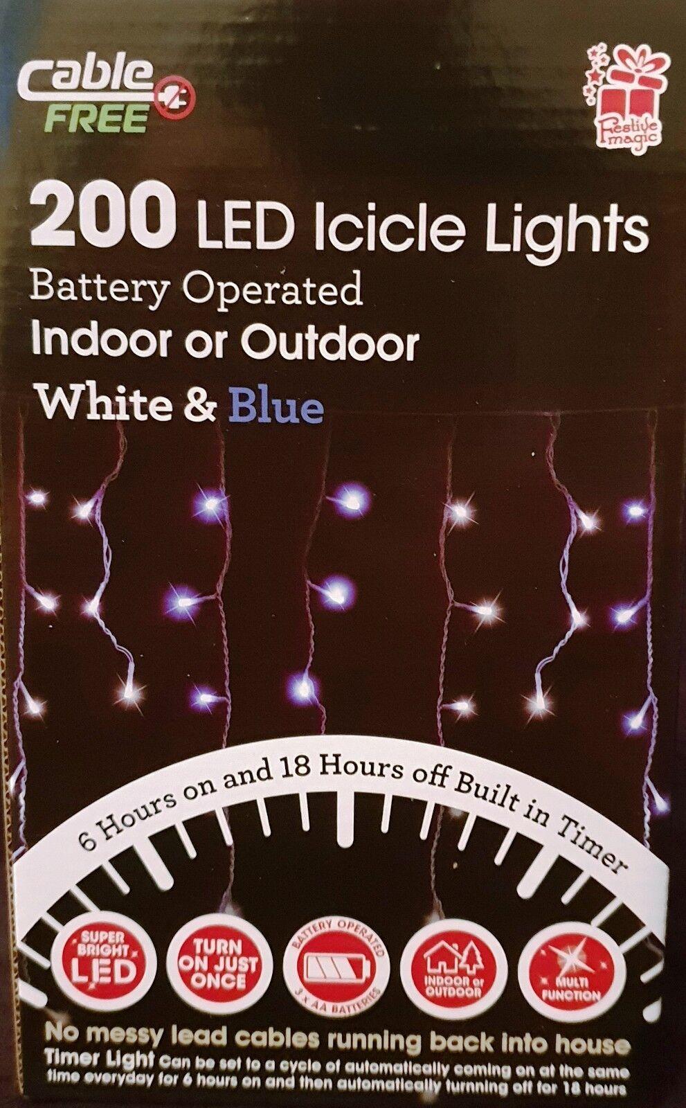 A BATTERIA BATTERIA BATTERIA 200 LED ghiacciolo TIMER LUCI PER NATALE decorazione interni, esterni 459d31