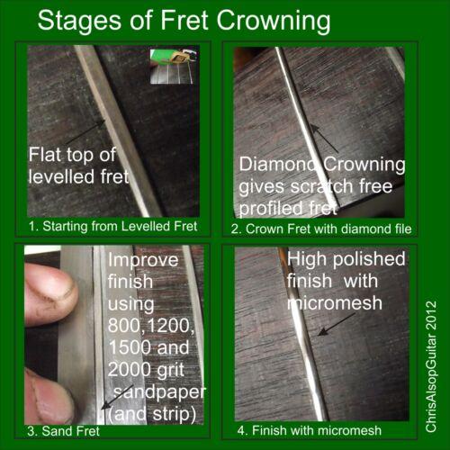 2.5mm /& 3.0mm TF087 2.0mm Oak Handle THREE Diamond Guitar Fret Crowning Files