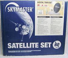 Skymaster Sat Anlage 60cm Spiegel Twin LNB 2 Digital Receiver Schüssel NEU OVP