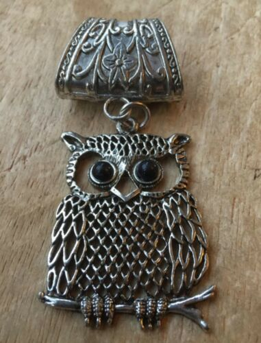 Antique Silver Large Owl Scarf Ring Jewellery// Pendant Great Gift