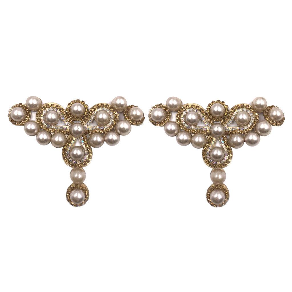 2pcs Crystal Imitation Pearl High Heel Shoe Clips Shoe Charms Shoe Buckle Decor