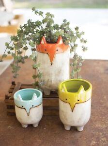 Fox Planters Ceramic Flower Pot Garden Plant Wildlife