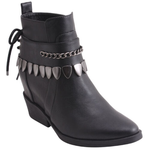 New Women/'s Tribal Hidden Wedge Ankle Boots Pendants /& Chains Black Size 6 8.5