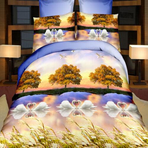 3D Printed Flower Pillow Case Quilt Duvet Cover Bedding Set Single Double