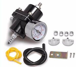 Fuel-Pressure-Regulator-with-Gas-Hose-Kit-0-140-PSI-3-8-034-NPT-Black-for-Racing
