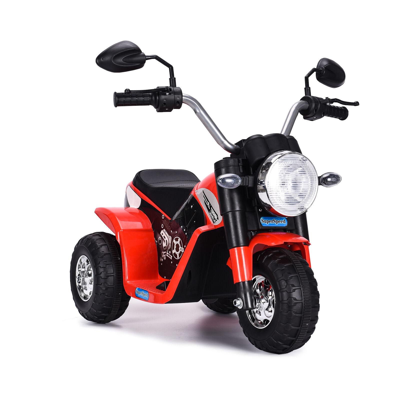 Bakaji Moto Baby Rosso LT889 Bianco Tre Ruote Volante Alto Harley 1 x 6V 4,5 Ah