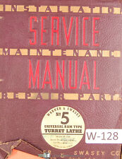 Warner Amp Swasey No 5 Turret Lathe M 1740 Service Maintenance Amp Parts Manual